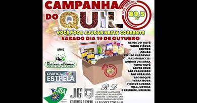 Neste Sábado dia 19/10 acontece em Tietê a Campanha do Quilo