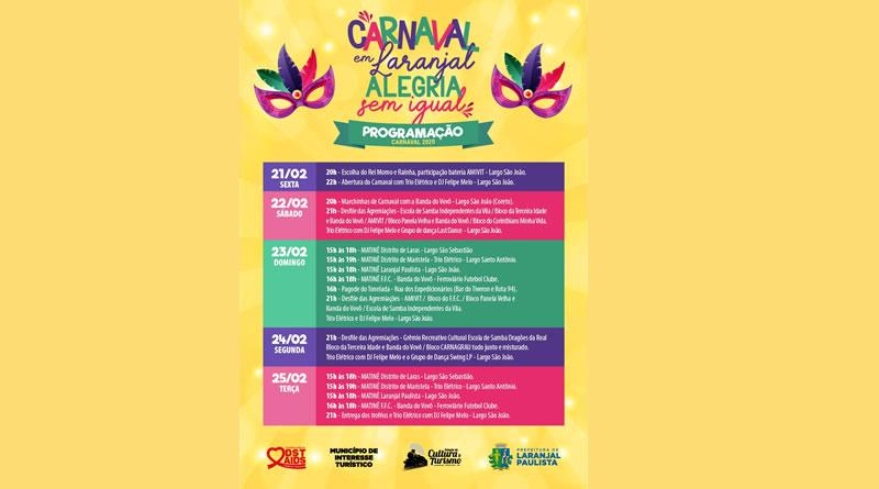 Laranjal Paulista divulga programação do carnaval
