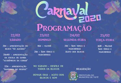 Prefeitura de Tietê divulga nota sobre o carnaval 2020